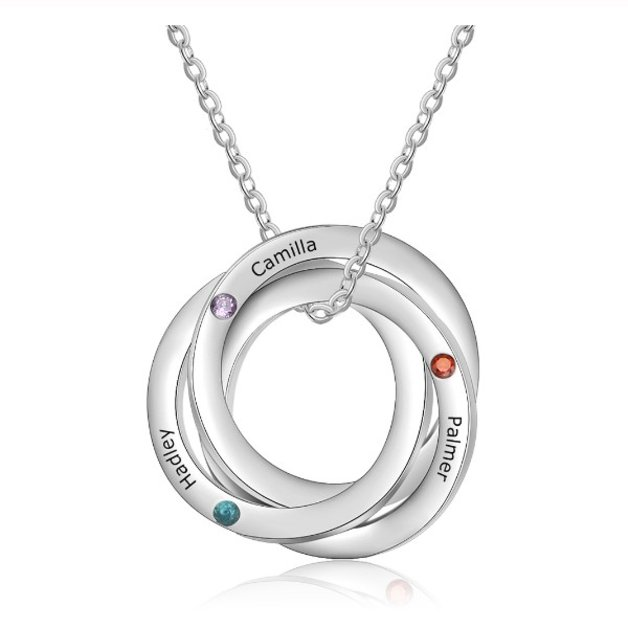 Necklace Woman Personalized 3 Names Simply Circles Silver Color
