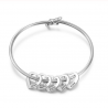 Bracelet Woman Personalized Heart Medallions 2 to 6 Names Silver Color