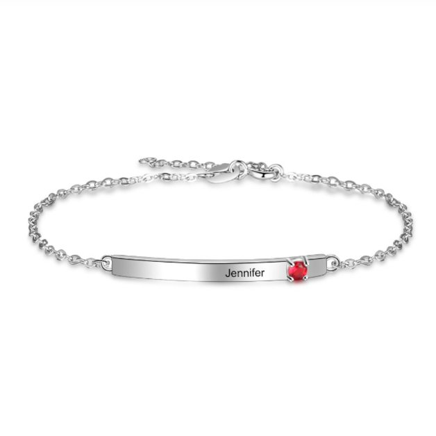 Bracelet Woman Personalized Simply Barre 1 Name Silver Color Stone