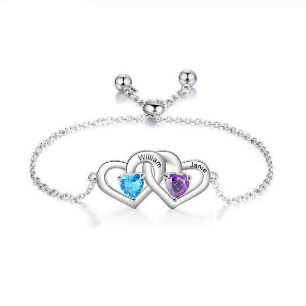 Bracelet Woman Personalized Double Heart 2 Names Silver Color
