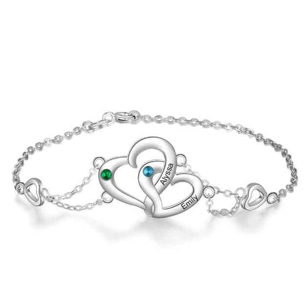 Bracelet Woman Personalized Heart Design V2 2 Names Silver Color