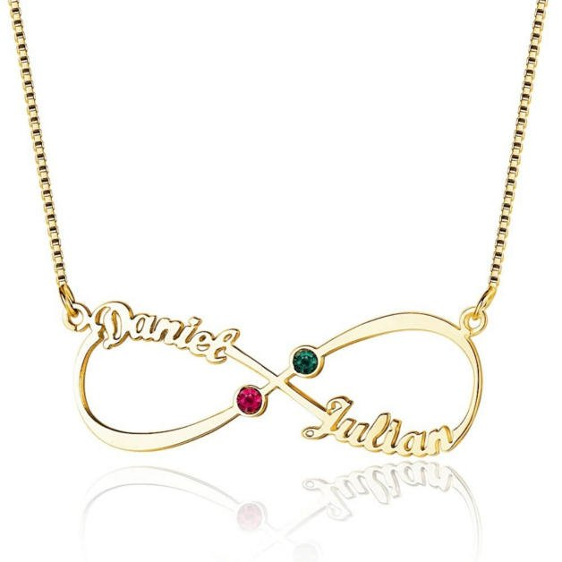 Personalized Woman Necklace. Infinite. 2 First names. Gold color. Stones