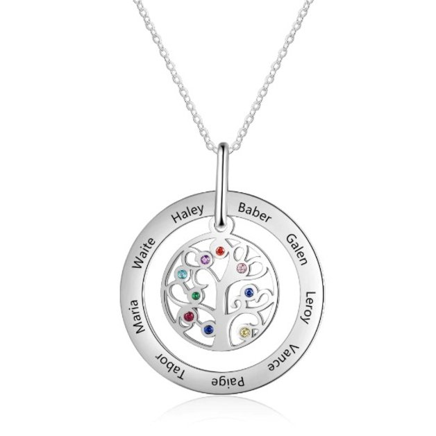 Necklace Woman Personalized Tree of Life up to 9 Names Silver Color