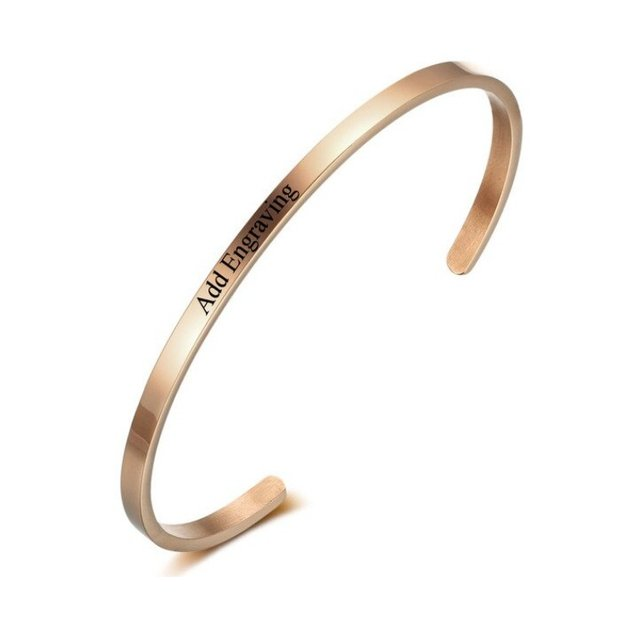 Bracelet Woman Personalized Simply 1 First Name Date Text Rose Gold Color