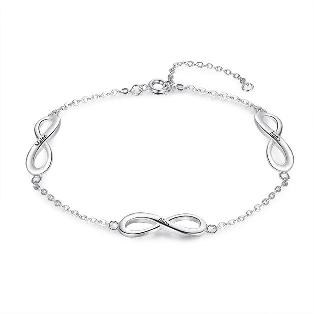 Personalized Woman Bracelet. Infinite. Simply. 3 First names. Silver color