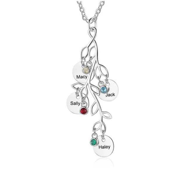 Personalized Women's Necklace Birth Tree 4 Names Silver Color