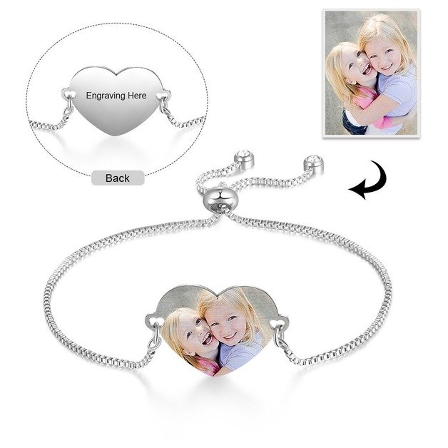 Personalized Bracelet. Heart. Photo and Text. Silver color