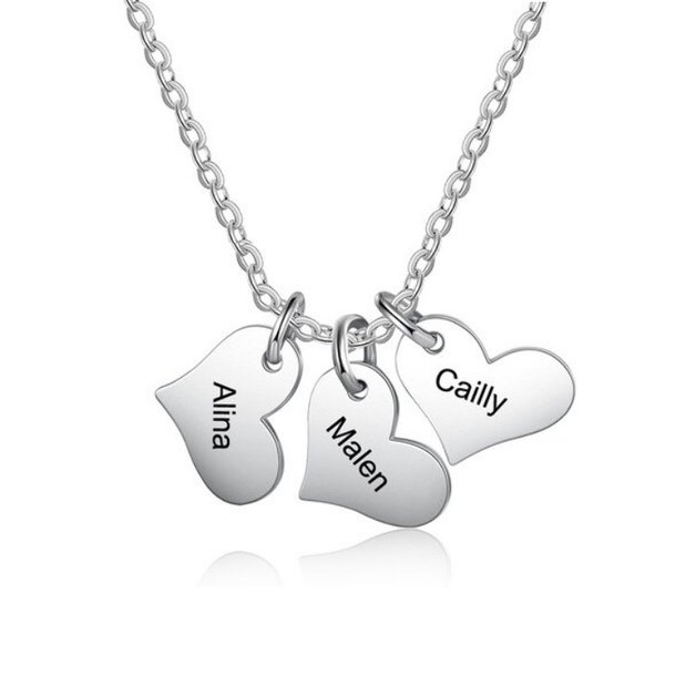 Necklace Woman Personalized Medallions Heart 3 Names Silver Color