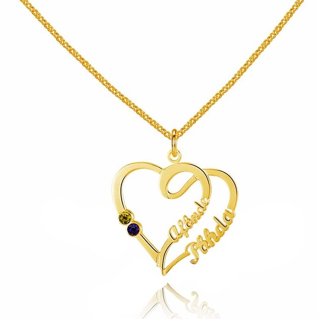 Necklace Woman Personalized Double Heart Entwined 2 Names Gold Color