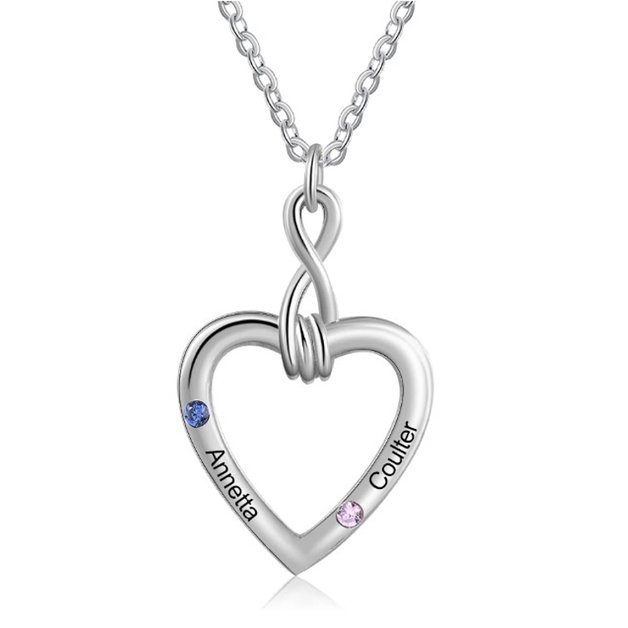 Personalized Woman Necklace. Infinite and Heart. 2 First names. Silver color