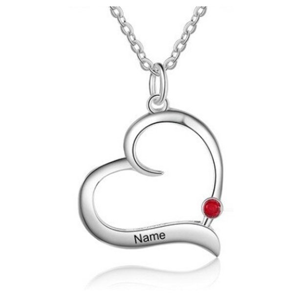 Necklace Woman Personalized Heart V5 1 Name Silver Color Stone