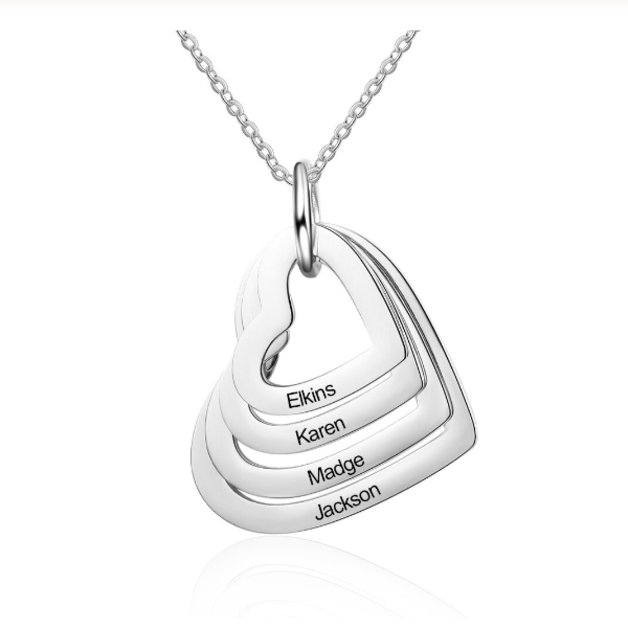 Necklace Woman Personalized 4 Names Medallions Hearts Silver Color