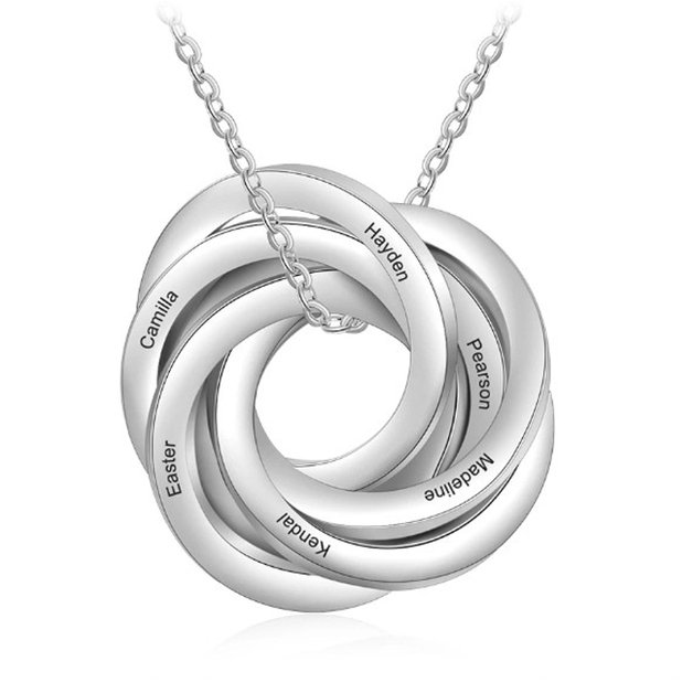 Necklace Woman Personalized Entwined Circles 6 Names Silver Color