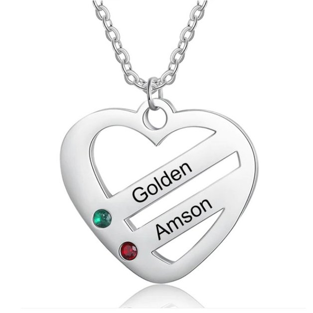 Necklace Woman Personalized Heart Bars 2 Names Silver Color Stone