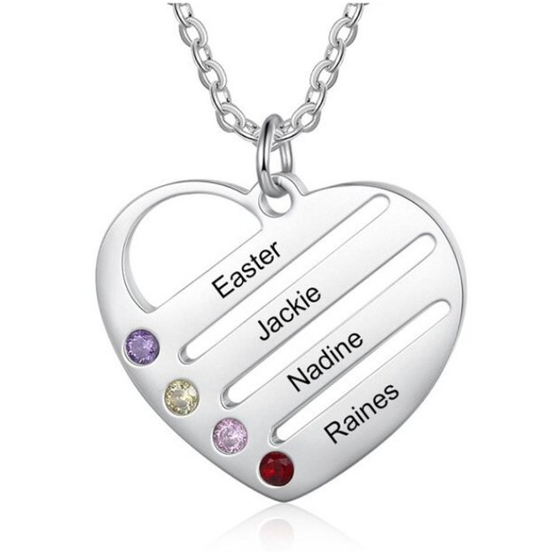Necklace Woman Personalized Heart Bars 4 Names Silver Color Stone